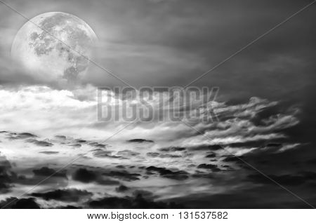 Beautiful Sky With Clouds, Bright Full Moon Would Make A Great Background.