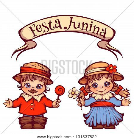 Brazilian Festa Junina Party girl and boy with ribbon banner. Vector illustration.