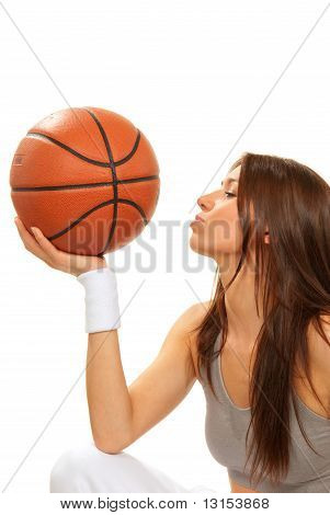 Basketball Brunette Woman Player Kissing Ball