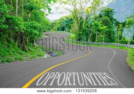 Opportunities written on desert road in nature.