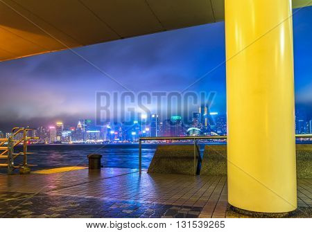 victoria harbour at night,hongkong china.