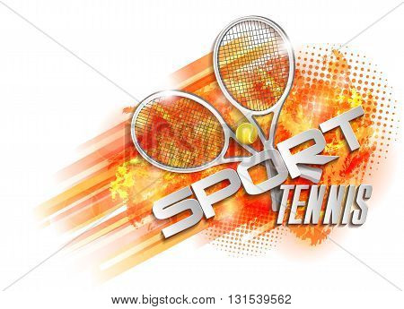 victory design sport tennis, racquet ball and text, vector illustration