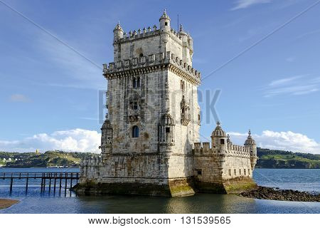 Tower of Belem monument an example of Manueline architecture in Belem Portugal