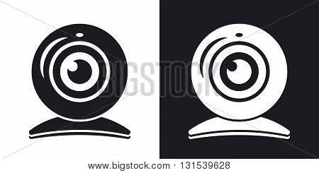 Vector webcam icon. Two-tone version on black and white background