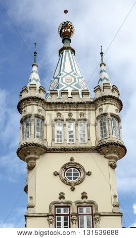 Town Hall of Sintra (Camara Municipal de Sintra) remarkable building in Manueline style of architecture built in 1910 on site of old Chapel of St. Sebastian.