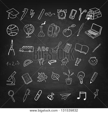 Back to school. School icons and design elements on black chalkboard background. Design element in vector