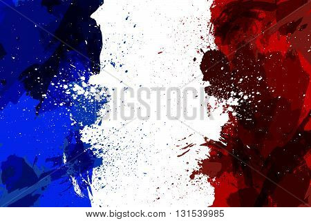 France flag in grunge style. Flag of France from stains and blobs. Design element in vector.