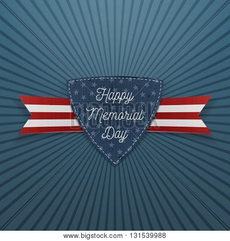 Happy Memorial Day textile Emblem and Ribbon. National American Holiday Background Template. Vector Illustration