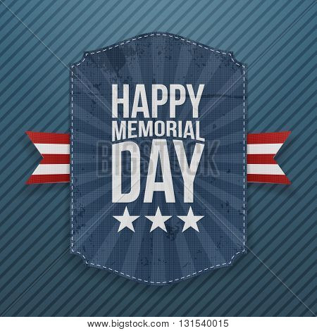 Happy Memorial Day textile Poster and Ribbon. National American Holiday Background Template. Vector Illustration