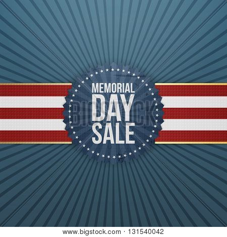 Memorial Day Sale textile Banner and Ribbon. National American Holiday Background Template. Vector Illustration