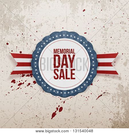 Memorial Day Sale textile Emblem and Ribbon. National American Holiday Background Template. Vector Illustration