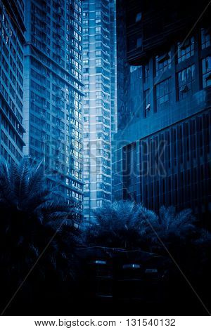 detail of modern architecture,chongqing china,blue toned image.