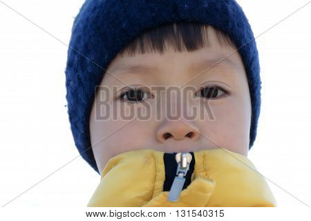 Boy portrait in warm clothes at cold weather
