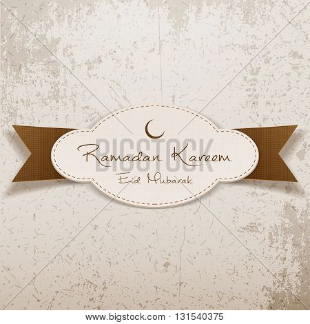 Ramadan Kareem Eid Mubarak realistic Emblem with Ribbon. Islam Holiday Background Template. Vector Illustration