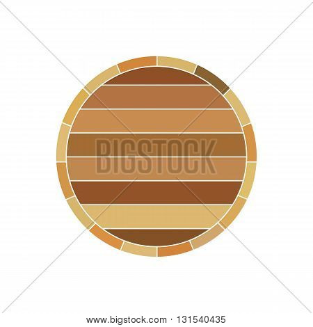 Wooden wine brown barrel profile vector illustration isolated on white background.
