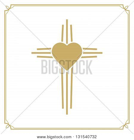 God is love. Cross with the heart shape. Design element in vector.