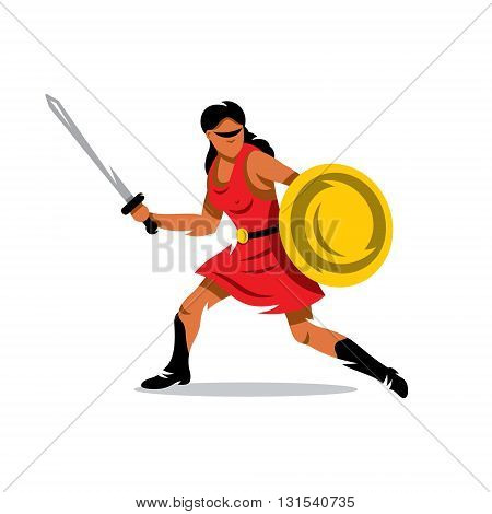 A woman with a shield and sword in a red dress isolated on a white background