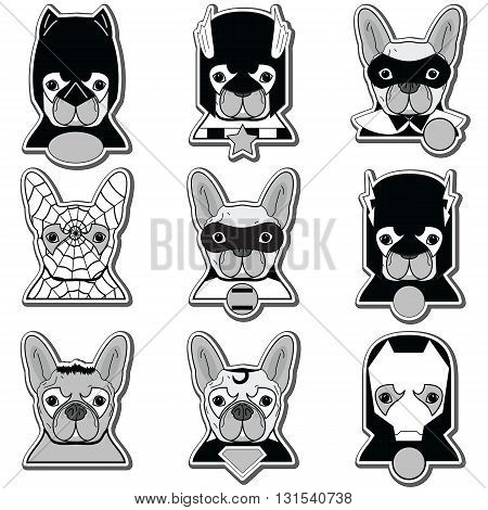 French bulldog  heroes in label style in black gray and white