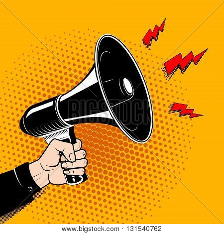 Hand with megaphone in pop art style. Comic style bullhorn. Design element in vector.