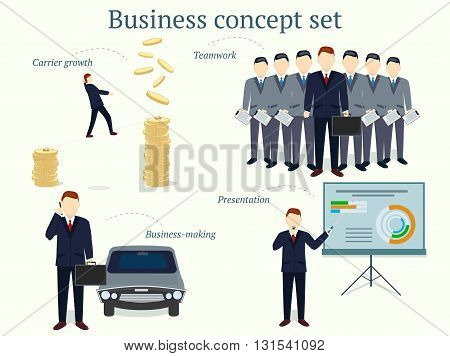 Set of successful businessman concept illustration in vector economy and finance design template