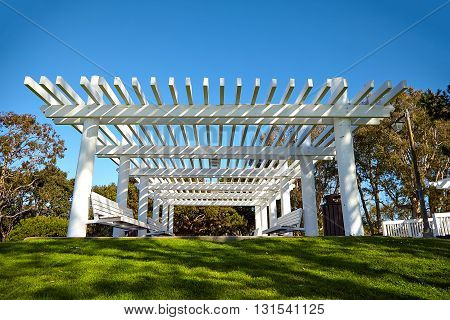 White wooden shelter from the sun in Marina Del Rey California