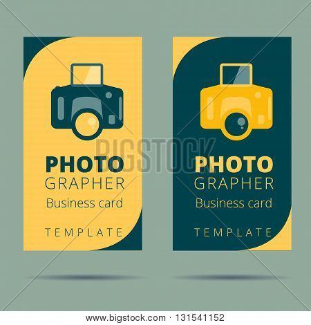 Set of photographer photo studio business card design template camera background