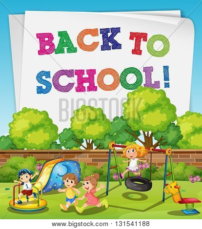Back to school theme with children in playground illustration