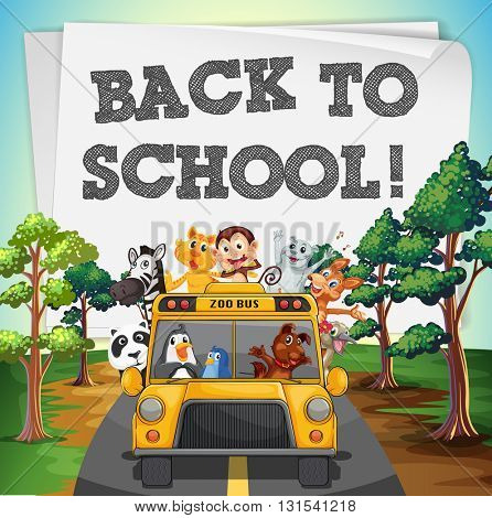 Back to school theme with animals on bus illustration