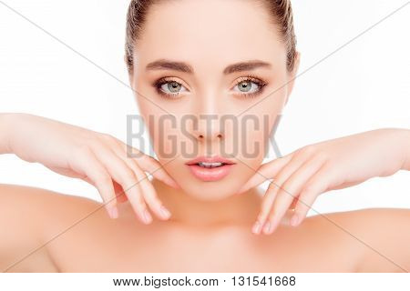 Portrait Of Sensual Woman Expertising Face After Spa Salon