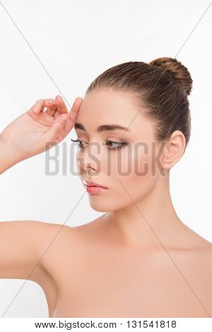 Portrait Of Sensitive Young Woman With Perfect Skin