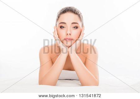 Sensitive Happy Woman Going To Do Prosedures In Spa Salon