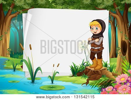 Paper design with hunter in the woods illustration