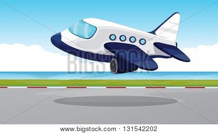 Airplane flying out of the runway illustration