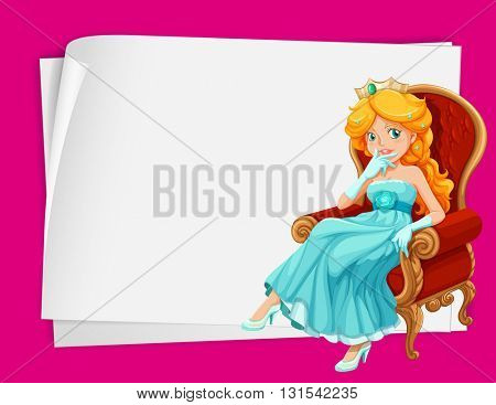 Paper design with princess on chair illustration