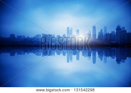chongqing city,blue toned image.