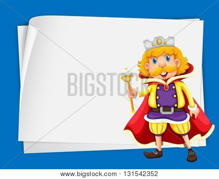 Paper design with king wearing crown illustration