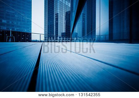 view shot of modern building,blue toned.