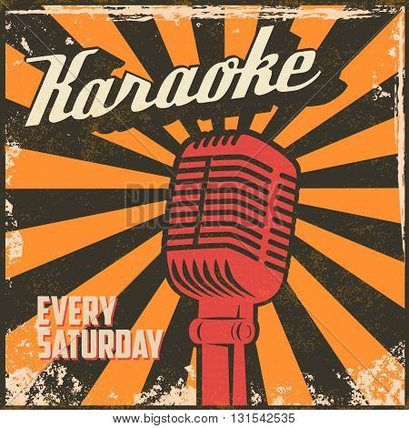 Karaoke vintage poster. Design element in vector.