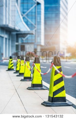 Traffic cones in line at roadside,shanghai china.