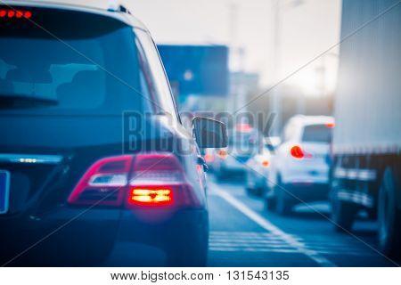 traffic jam on highway,shanghai china.