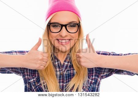 Cheerful Young Blonde In Cap And Glasses Gesturing