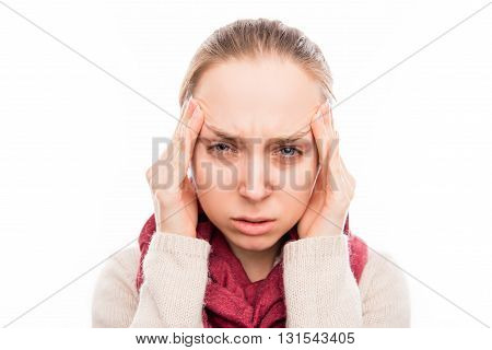 Portrait Of Sad Sick Woman With Strong Pain In Head