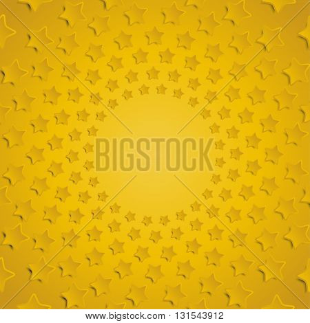 Vector abstract background. Yellow stars in a circle with shadow. Eps 10.