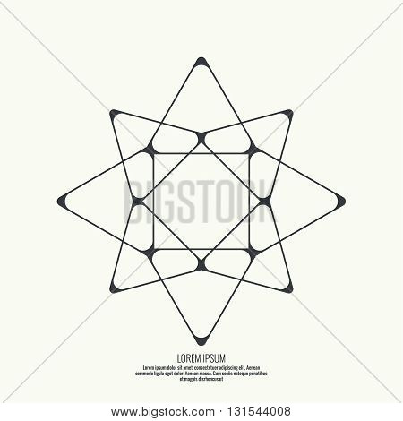 Abstract background with intersecting geometric shapes. Triangle, star geometry. Badge, monogram, banner. Black and White.