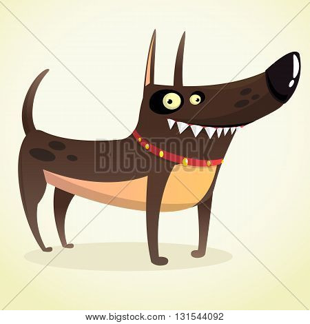 Tough Doberman Pinscher Cartoon Illustration. Isolated on white background