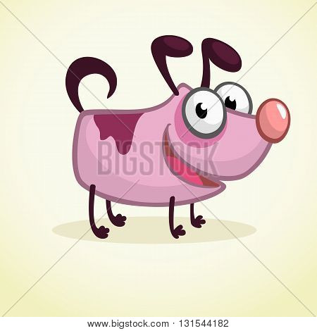 Cute Cartoon Pink Dog. Vector Illustration on white background for design