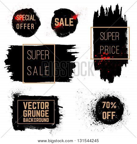 Sale special offer discount stickers banners. Hand drawn brush strokes. Grunge vector stains with banners.