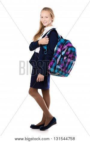 Smiling School Girl With Plaid Backpack