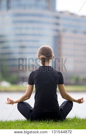 Young Office Woman Meditating