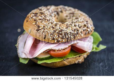 Breakfast Bagel (with Ham; Selective Focus)
